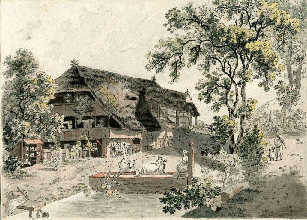 Fig. 2. F. N. König. Casa de campo bernesa. Tinta y acuarela sobre papel, 156 x 215 mm. August Laube, Zúrich.