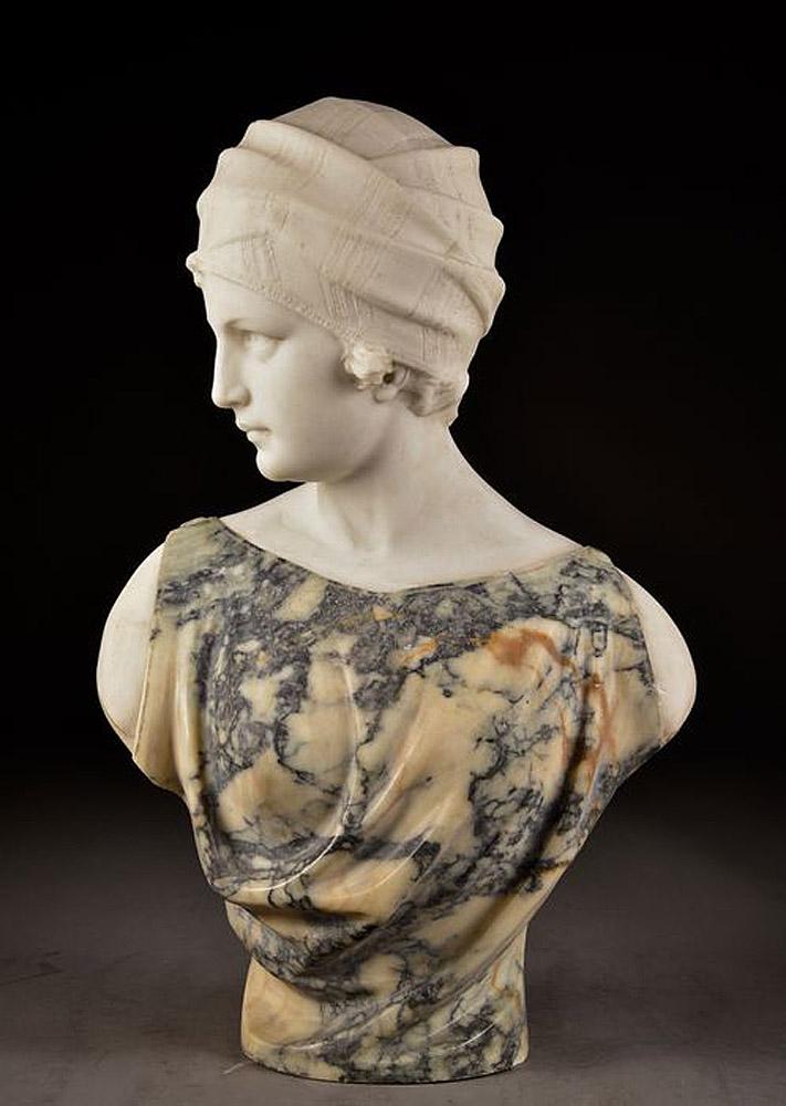 Foto 6. Guglielmo Pugi: Busto de mujer con turbante. Subastado en Catawiki
