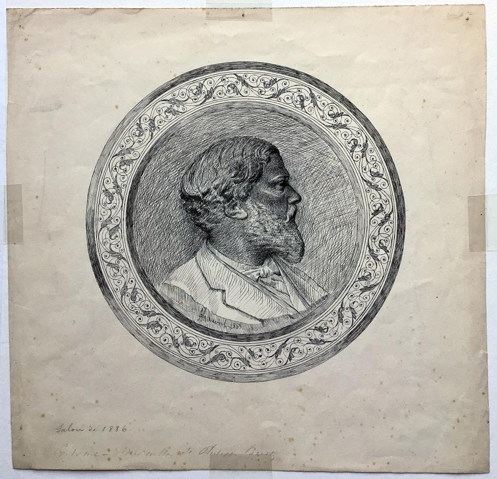 Fig. 1. Alfred Gauvin. Retrato de Philippe Burty. Tinta negra sobre papel, 250 x 260 mm. Inv. 10202