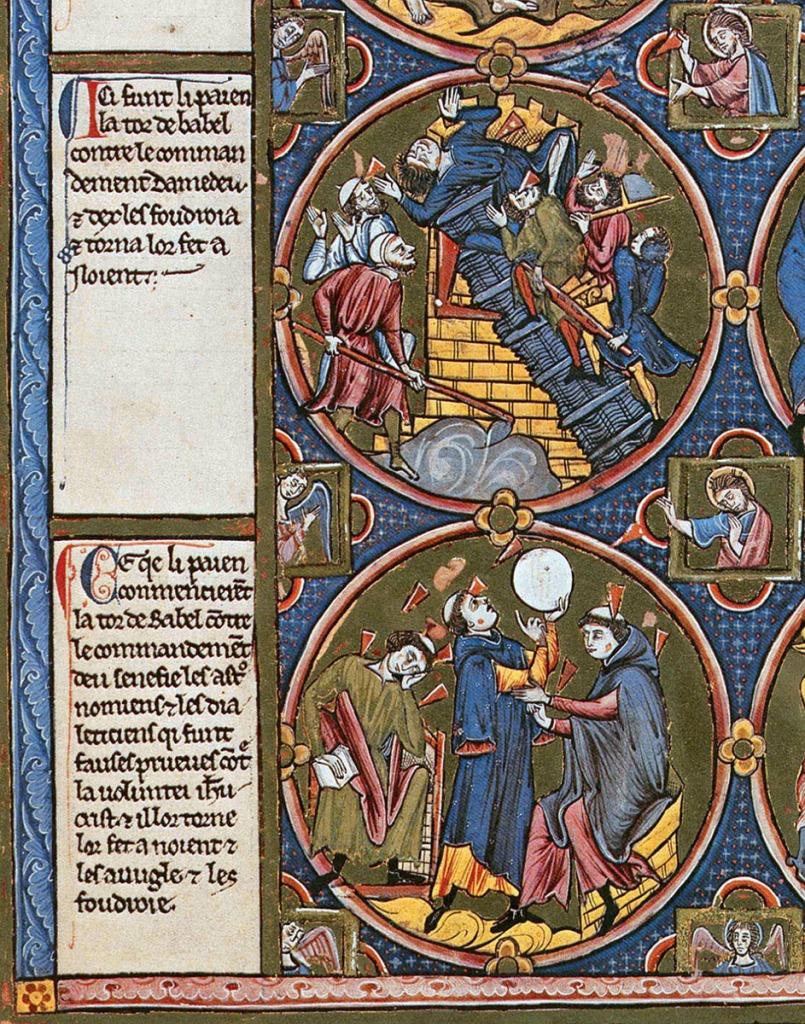 Bible moralisée Viena 2554. Viena, Österreichische Nationalbibliothek, cod. 2554, fol. 3v (París, ca. 1220).