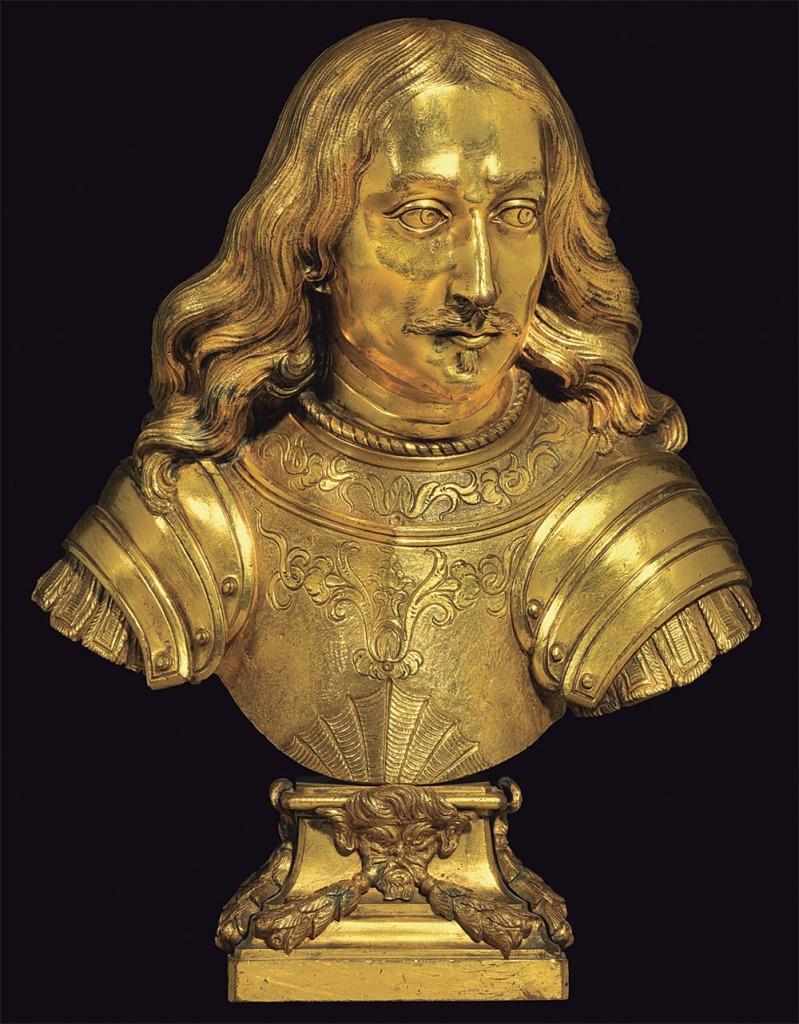 Giovanni Battista Morelli: Retrato de Mateo I o Guillén Ramón II de Moncada, 1660-1662. Bronce dorado. Altura: 30,5 cm. (Foto: Sotheby's).
