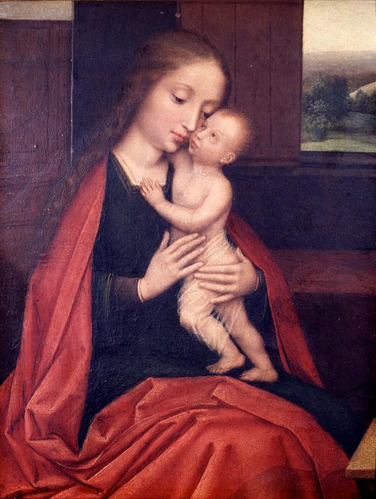 Grupo Isenbrant: Virgen besada por el Niño en un interior, ca. 1520-1530. Museo Lázaro Galdiano, Madrid. (Foto: MLG, Madrid).