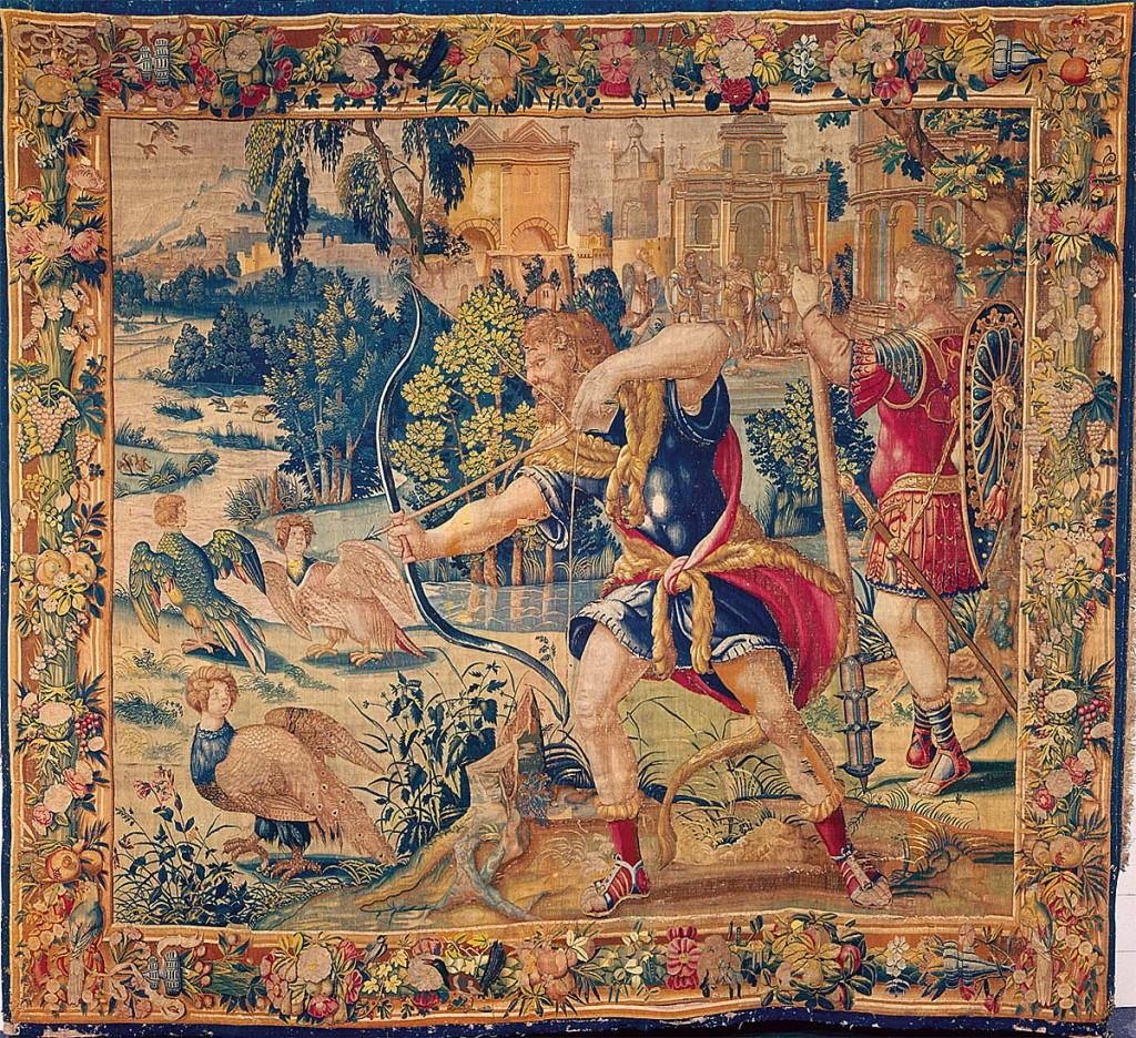 Hércules y las aves del lago Estínfalo. Lana y seda, ca. 1535. Serie 23. Patrimonio Nacional, Madrid.