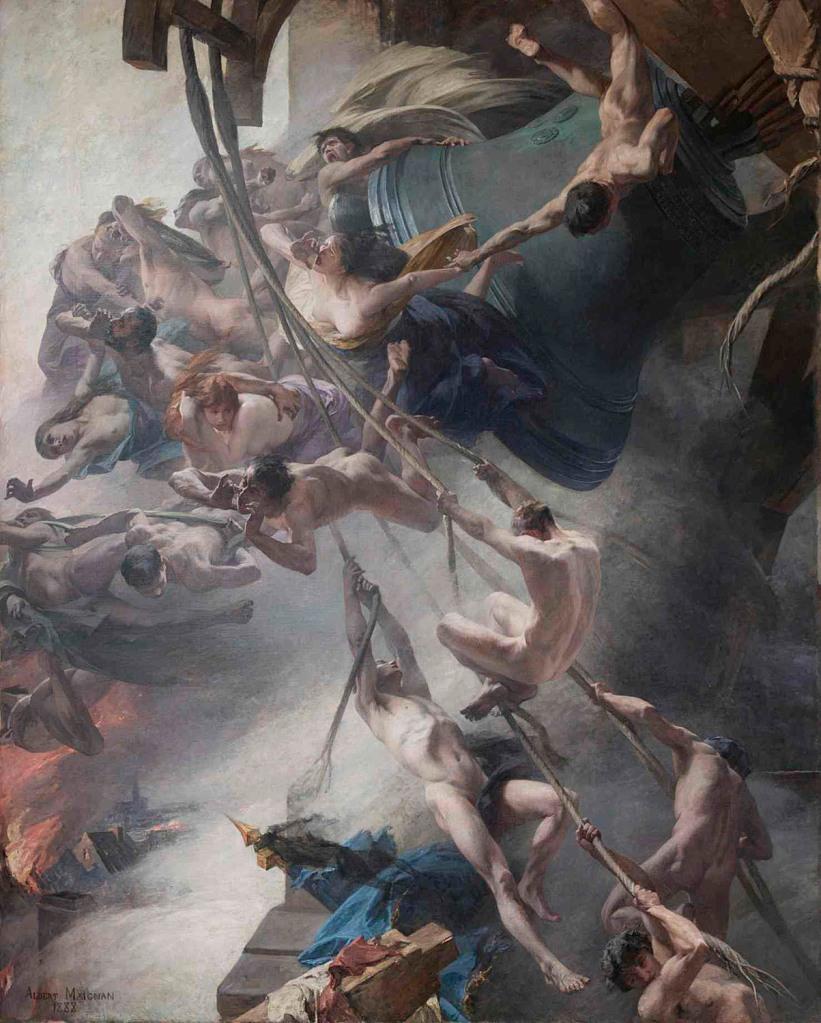 """Albert Maignan. """"Les voix du Toisin"""". 1882-1888. Óleo sobre lienzo, 5,50 x 4,50 m. Musée de Picardie"""