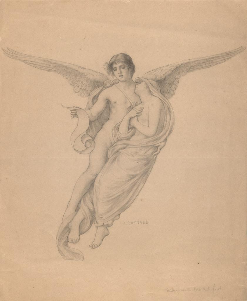 Auguste Raynaud. La Voix de la forêt. Hacia 1897. Lápiz negro sobre papel, 390 x 475 mm. Museo Lázaro Galdiano. Inv. 10395