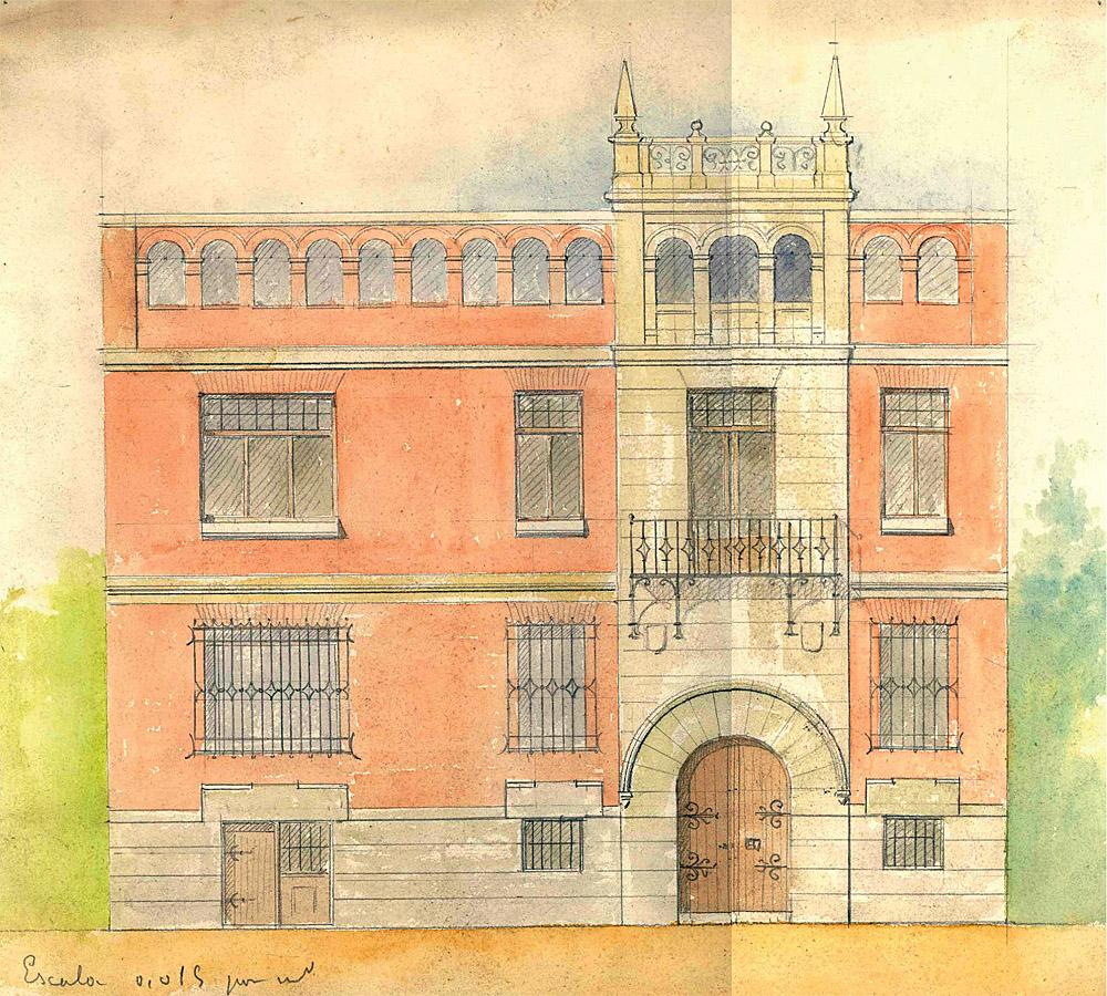 Boceto de la fachada principal del proyecto inicial de vivienda de Sorolla donde se aprecian similitudes con la casa-museo del Greco. Inv. DA00030. Archivo del Museo Sorolla, Madrid.