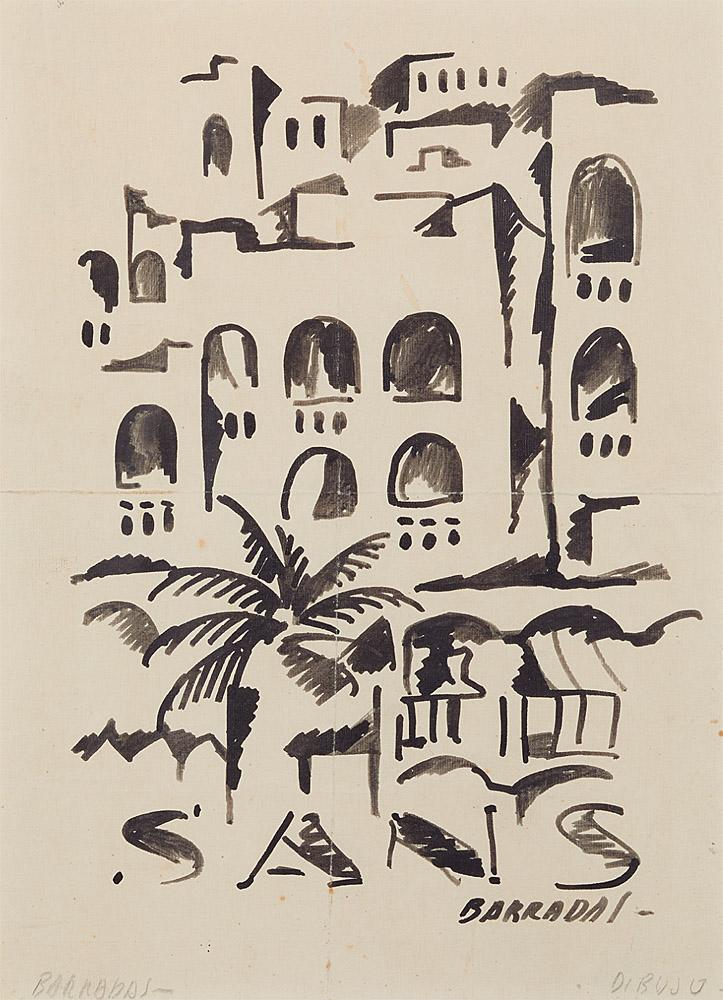 "Rafael Barradas: ""Paisaje de Sants (Barcelona)"", 1927, dibujo, tinta china sobre papel. (Colección particular,Madrid)."